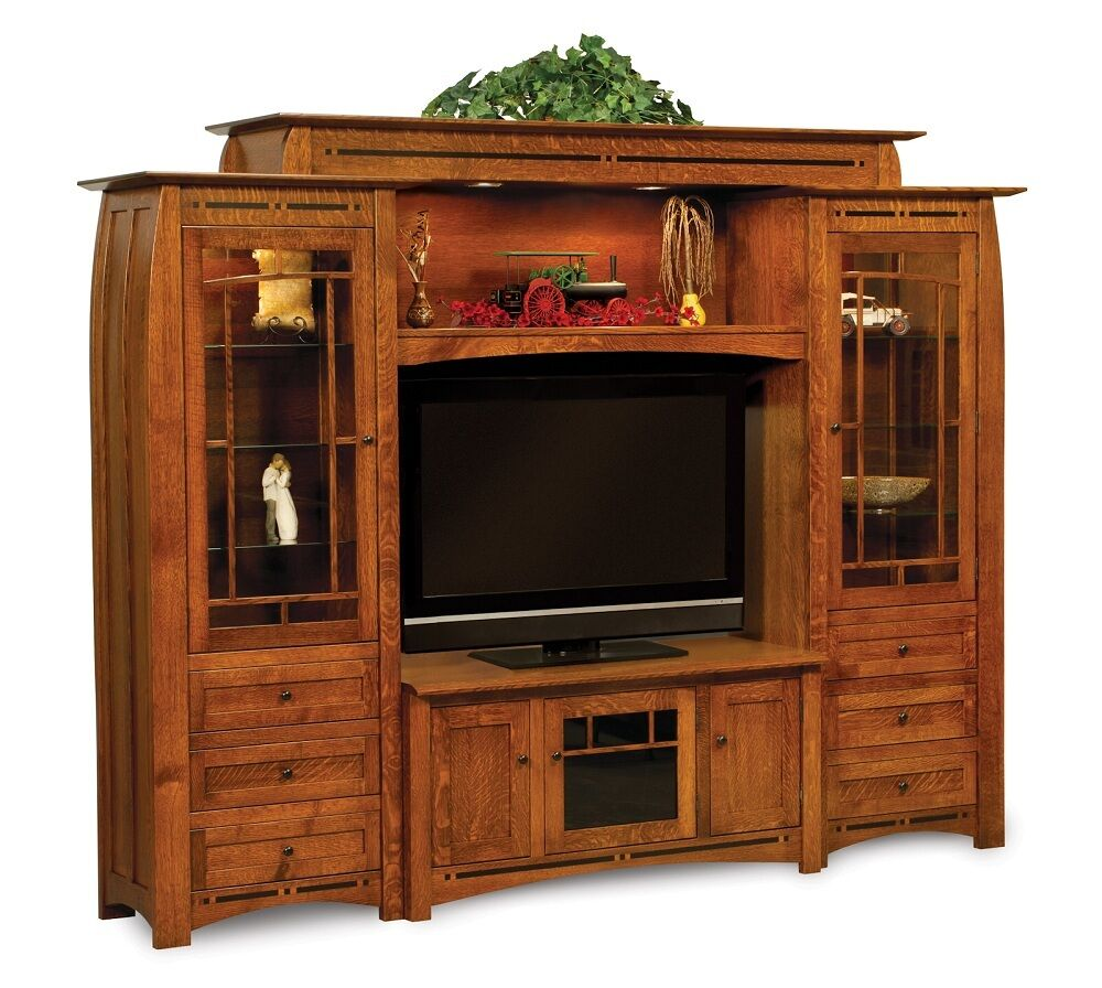 Amish TV Entertainment Center Solid Oak Wood Media Wall ...