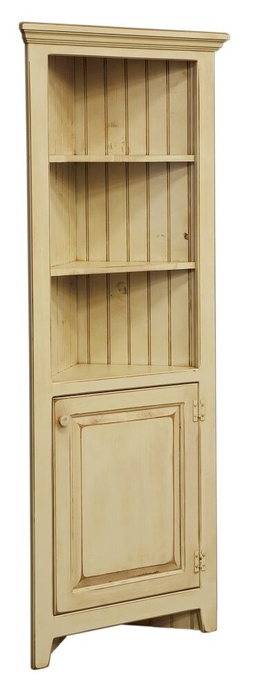 Amish corner cabinet pantry hutch bathroom kitchen solid wood country distressed ebay - Amish built kitchen cabinets ...