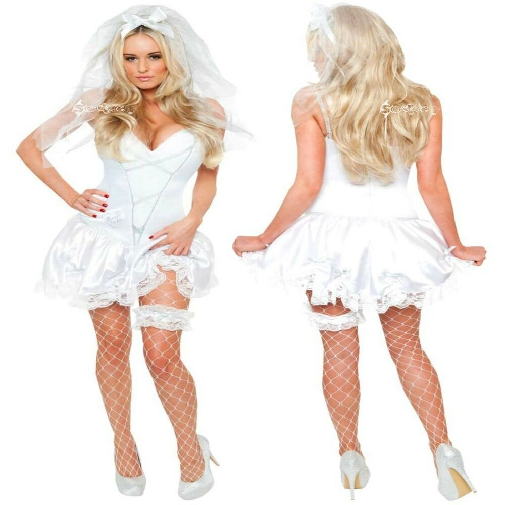 Ladies Sexy Bride To Be Fancy Dress Costume Sizes 8-20