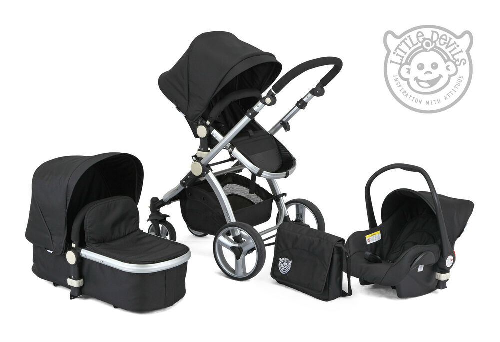 Black Carrera Sport 3 In 1 Baby Travel System Pushchair