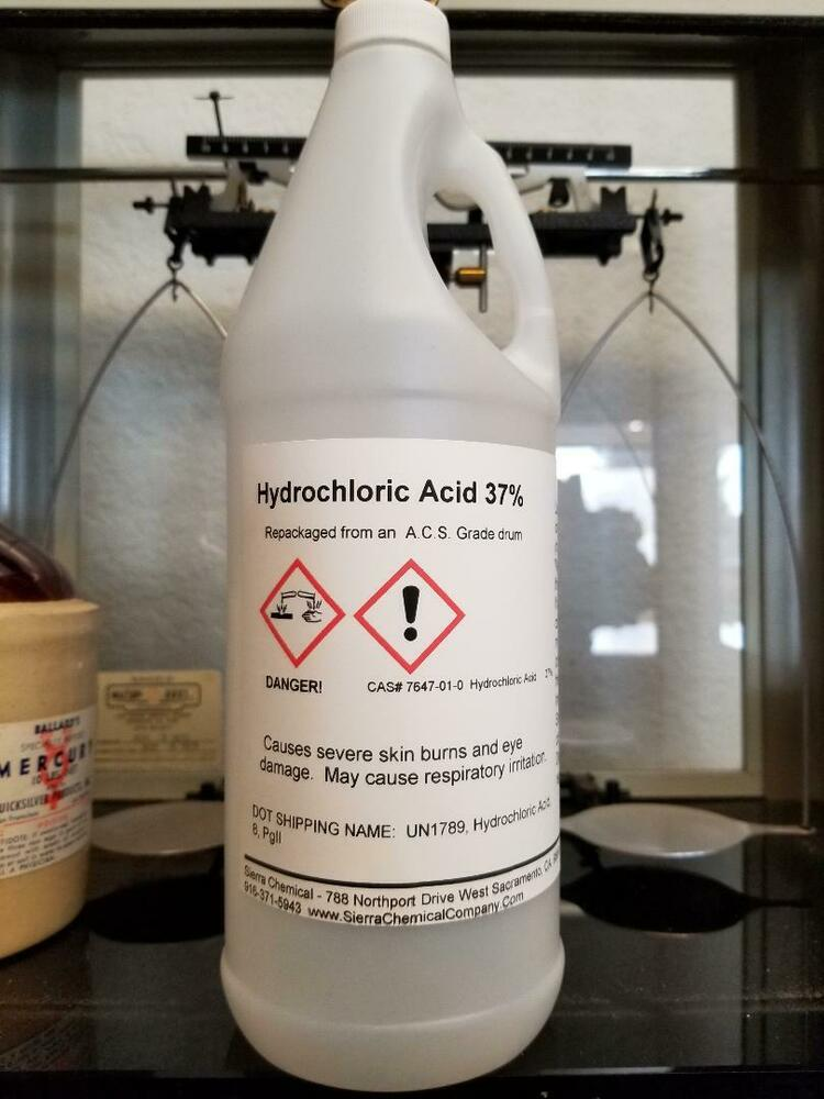 Hydrochloric Acid 37% - Gallon - Exceeds ACS Grade ...