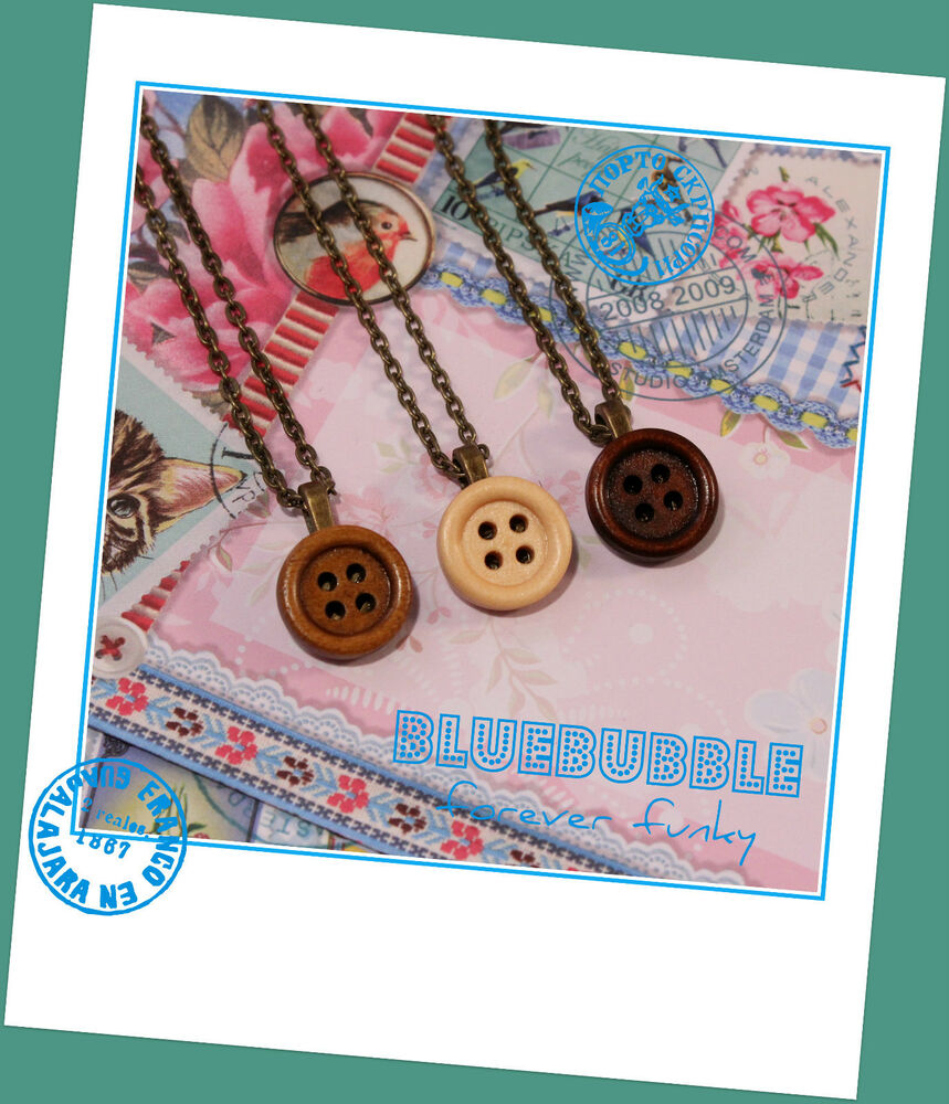 funky vintage style wooden button brass necklace cute kitsch retro boho chic emo ebay. Black Bedroom Furniture Sets. Home Design Ideas