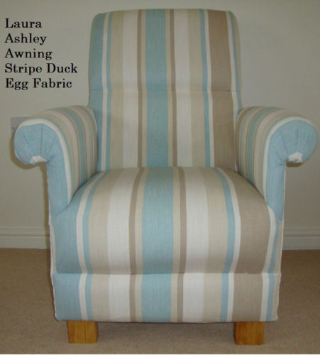 Laura Ashley Awning Stripe Duck Egg Fabric Chair Armchair