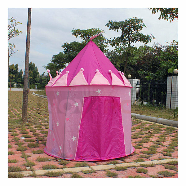 portable folding pink princess play tent children kids castle cubby play house ebay. Black Bedroom Furniture Sets. Home Design Ideas