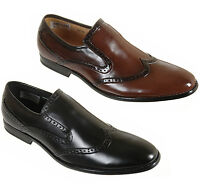 Mens Slip On Leather Lined Brogue Formal Shoes Size 6 7 8 9 10 11 12