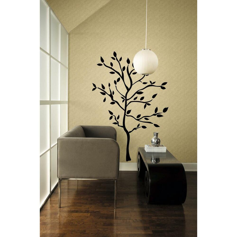 New black tree mural wall decals leaves branches for Tree wall art