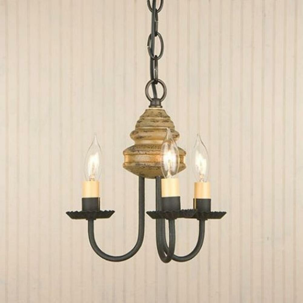 Country new smaller 3 arm bellview pearwood wood for Wood chandelier lighting