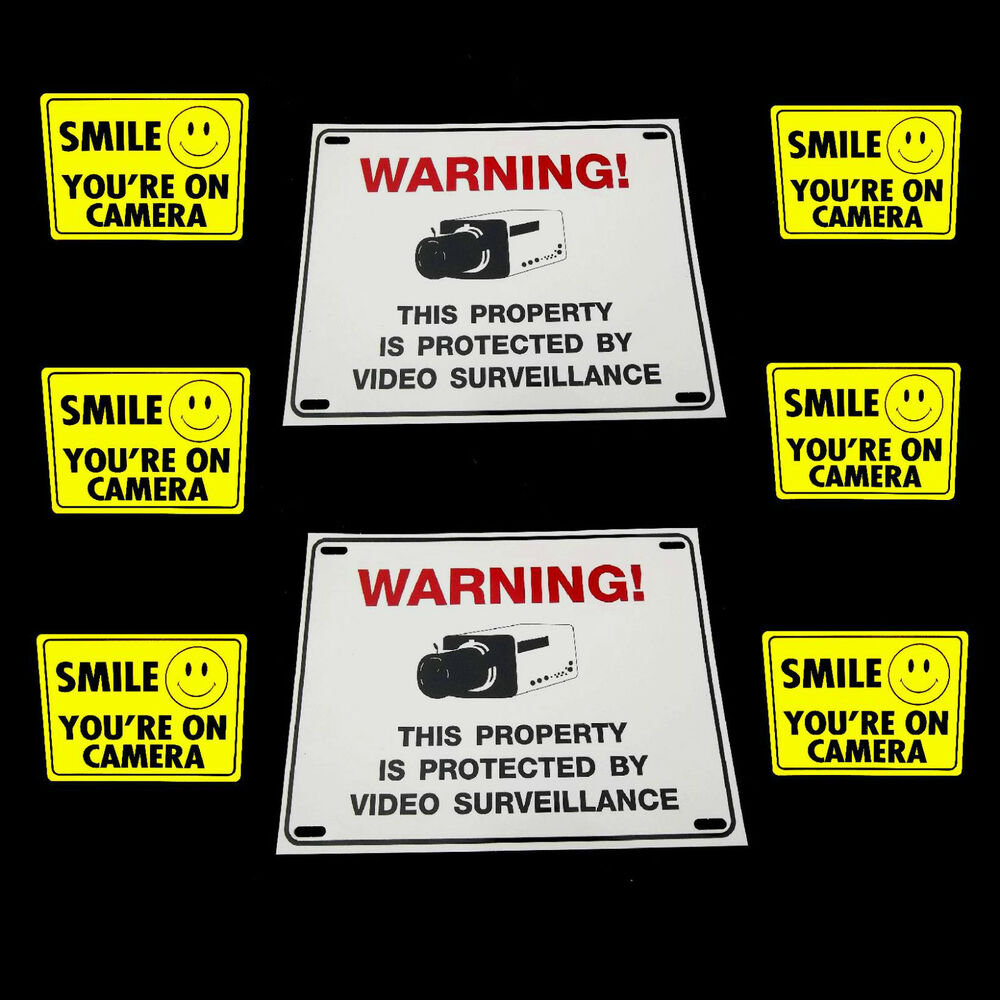 lot water proof cctv surveillance security video cameras warning signs stickers ebay. Black Bedroom Furniture Sets. Home Design Ideas