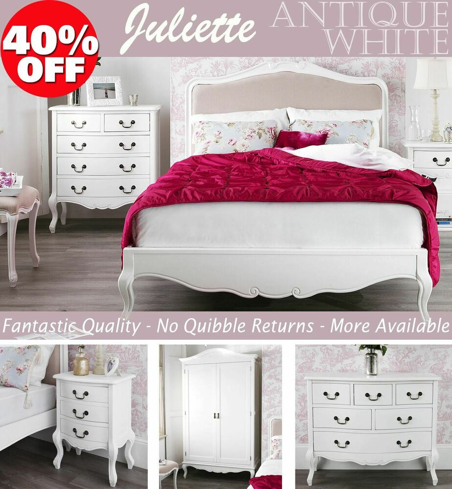 Shabby chic white bedroom furniture bedside tables for Bedroom table chairs