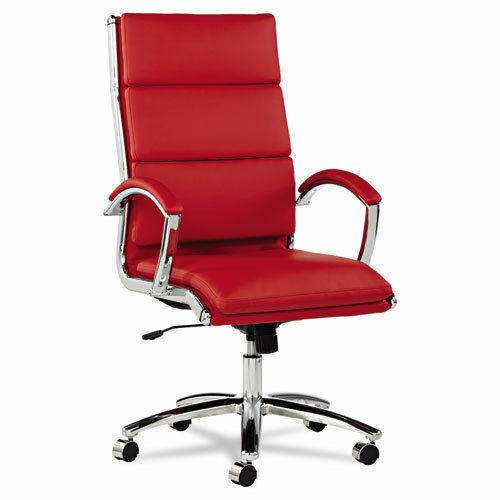 High Back Red Leather Office Chair With Padded Arms EBay
