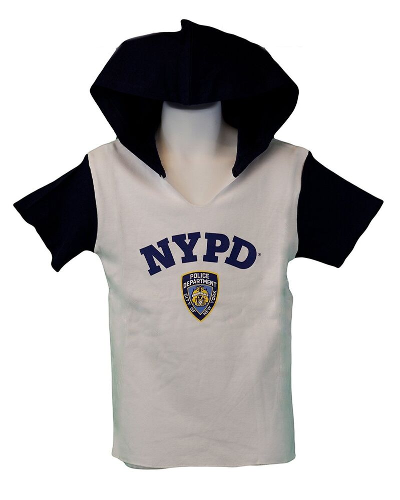Nypd Kids Hooded Short Sleeve Screen Print T Shirt Blue