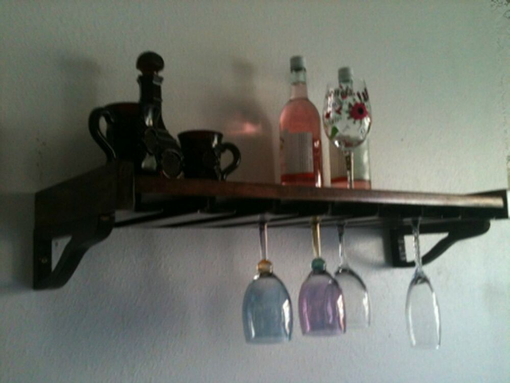 Wall Mount Wine Glass Unique Wood Rack Holder Ebay