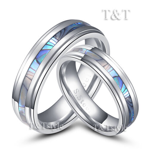 Tt 6mm stainless steel mother pearl comfort fit wedding for Wedding ring fitters