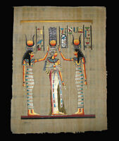 Egyptian Papyrus genuine hand painted Nefertari Crowned 43x33cm