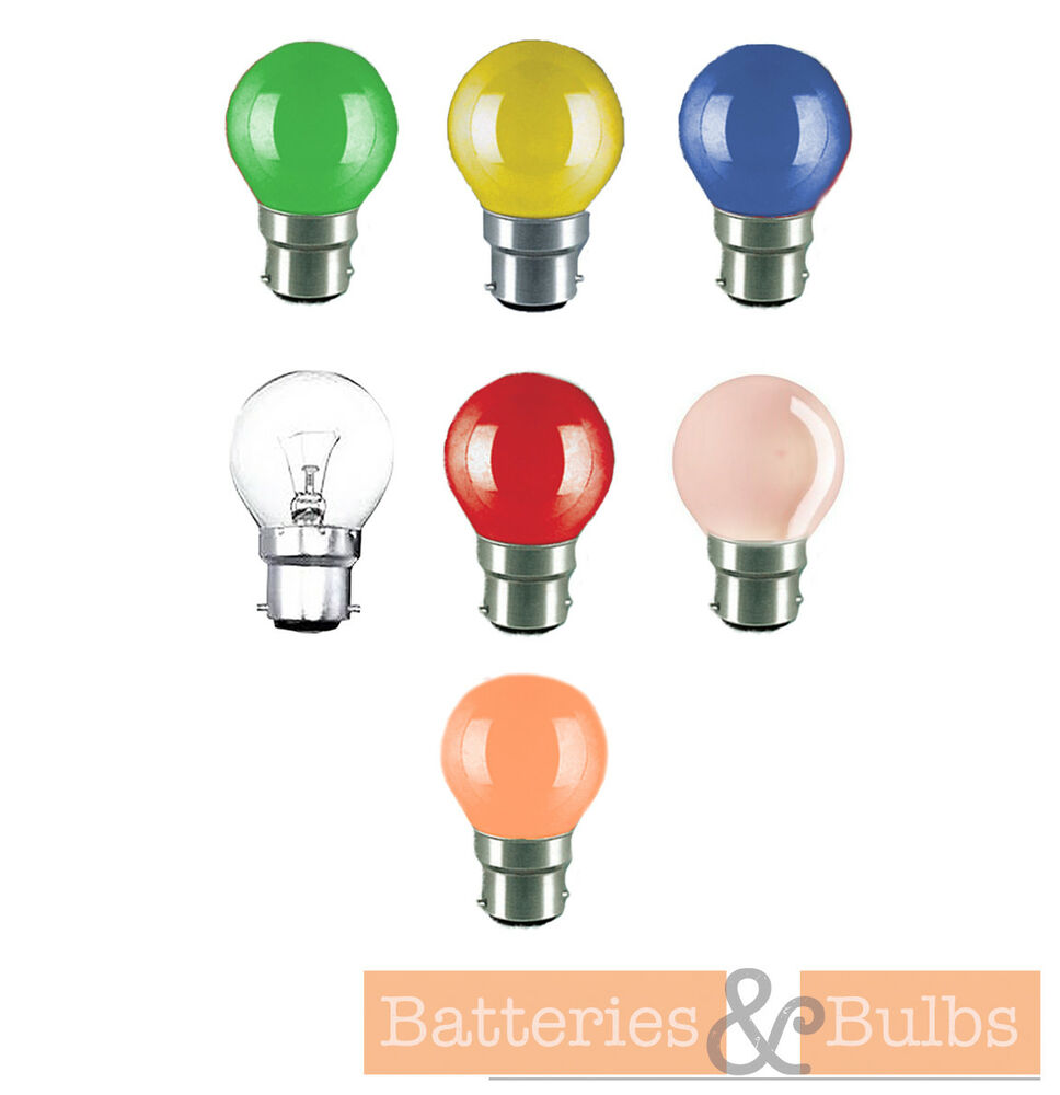 X6 15w Bc Bayonet Cap B22 Golf Globe Coloured Lamp Light Bulbs Ebay