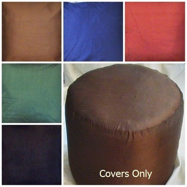Foot Stool Ottoman Cover Pouf Round Furniture Pouffee Silk Floor Remove Cover Ebay