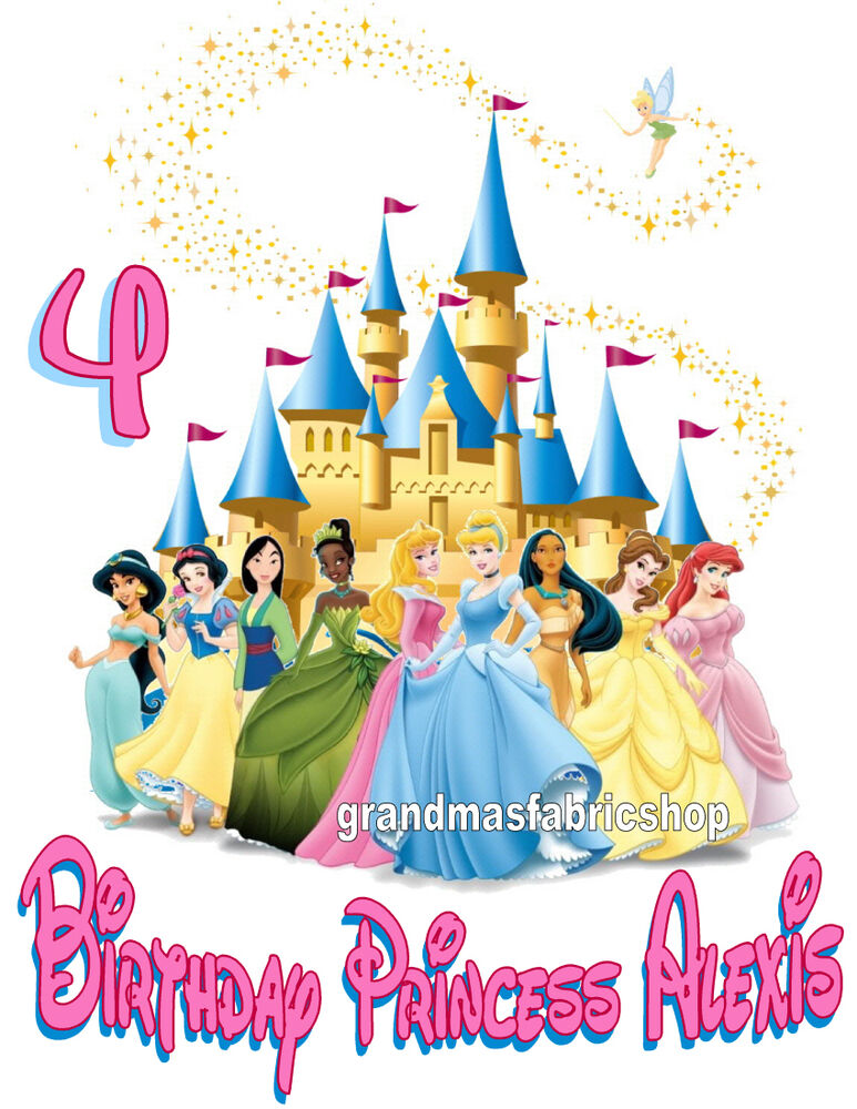 new personalized disney princess birthday t shirt add name and age to the design ebay. Black Bedroom Furniture Sets. Home Design Ideas