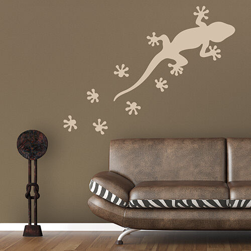 wandtattoo gecko gekko spuren aufkleber wall art wand tattoo 2023 ebay. Black Bedroom Furniture Sets. Home Design Ideas