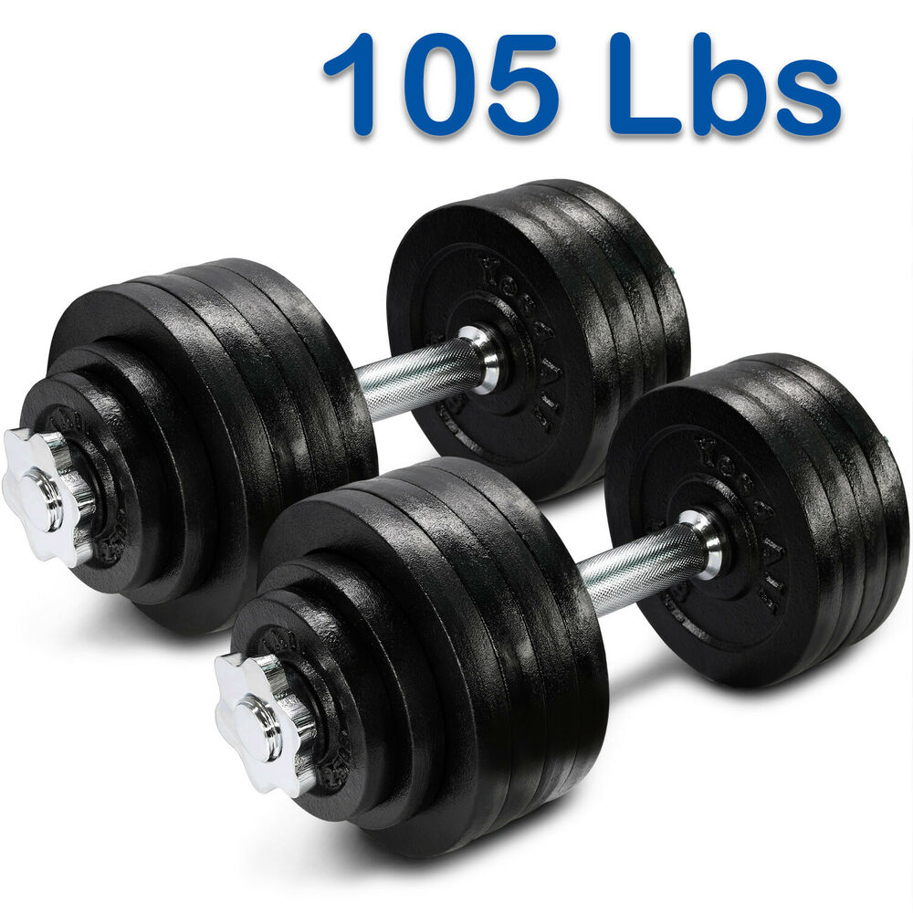 Yes4All 105 lbs Adjustable Dumbbells Set Gym Cap Plate ...