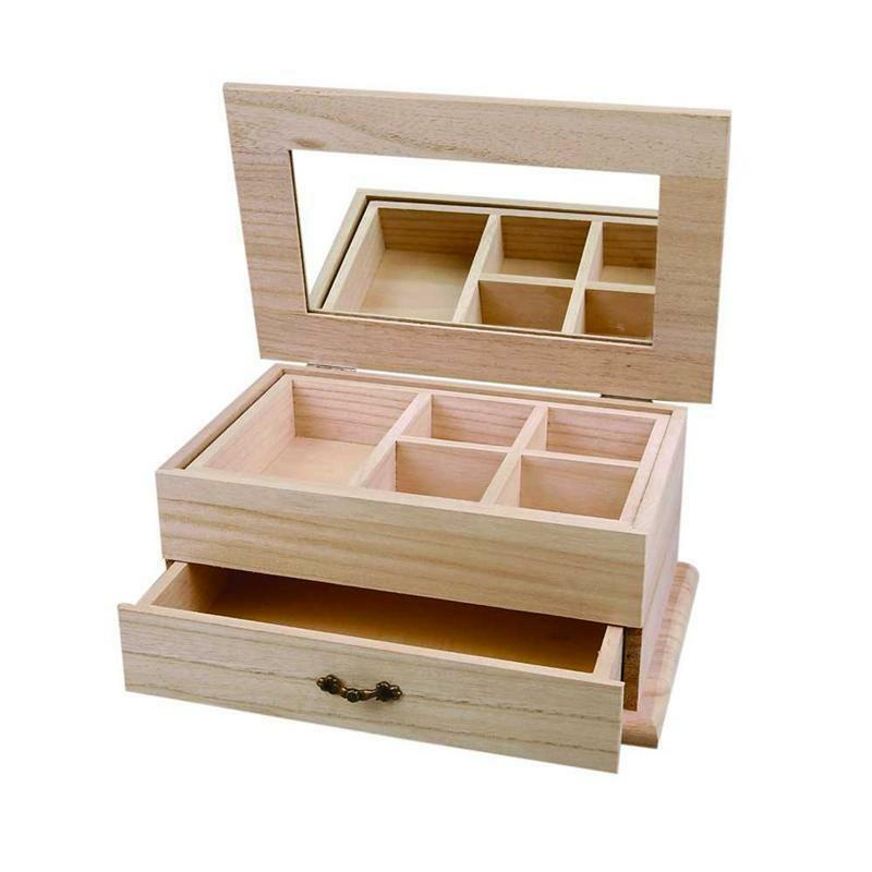 Large Wooden Jewellery Box Storage Craft Mirror Drawer