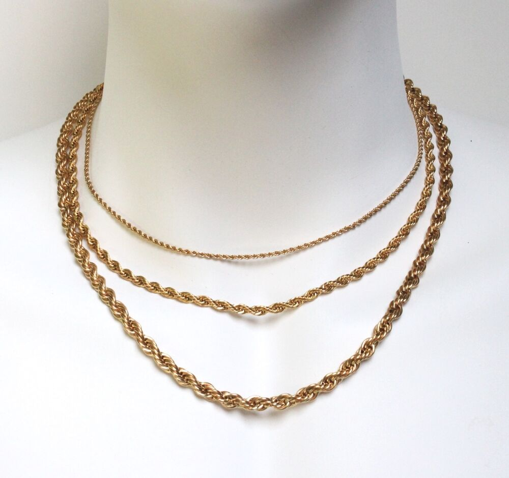 18k gold plated stainless steel necklace rope chain 2mm