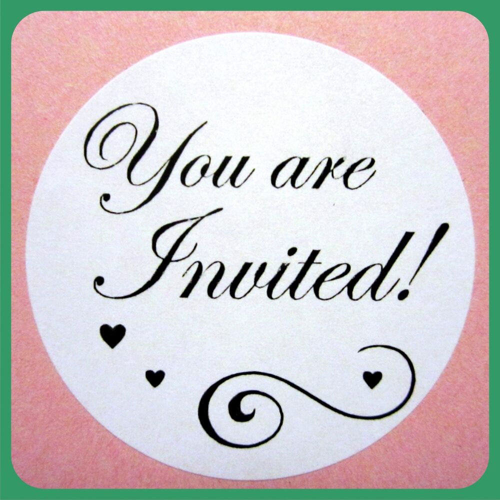 100 WEDDING ENVELOPE SEALS YOU ARE INVITED ROUND STICKERS