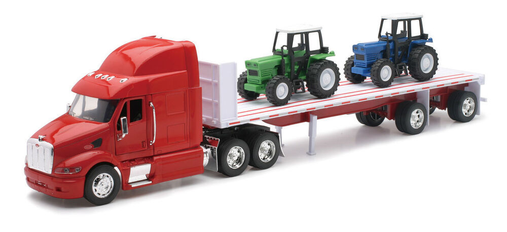 Semi Truck That S Also A Toy Car Holder : New ray trailer peterbilt model red with farm