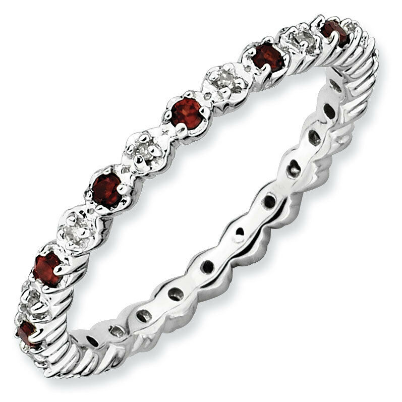 sterling silver stackable ring garnet stones