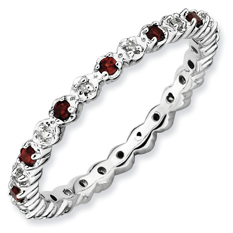 Garnet Ring Bands: Sterling Silver Stackable Ring Garnet & Diamond Stones