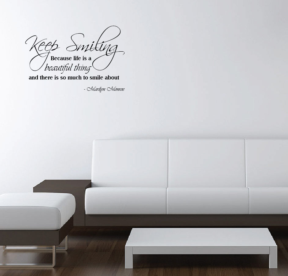vinyl wall decal marilyn monroe quote keep smiling because. Black Bedroom Furniture Sets. Home Design Ideas