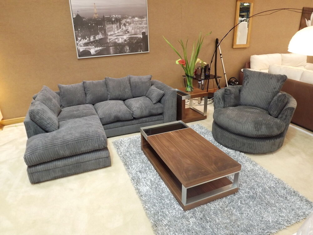 Dylan Jumbo Cord Charcoal Grey Corner Sofa With Matching Swivel Chair Ebay