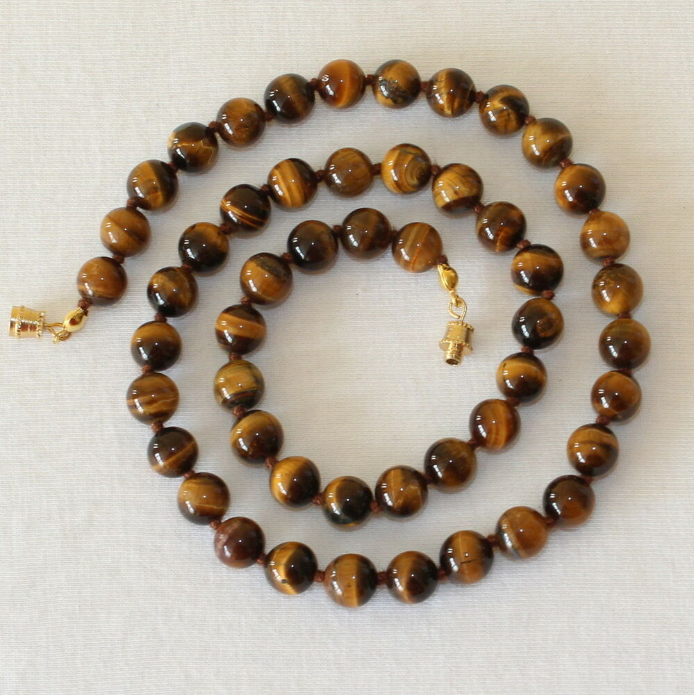 Tiger Eye Necklace 8mm Tiger S Eye Beads Hand Knotted