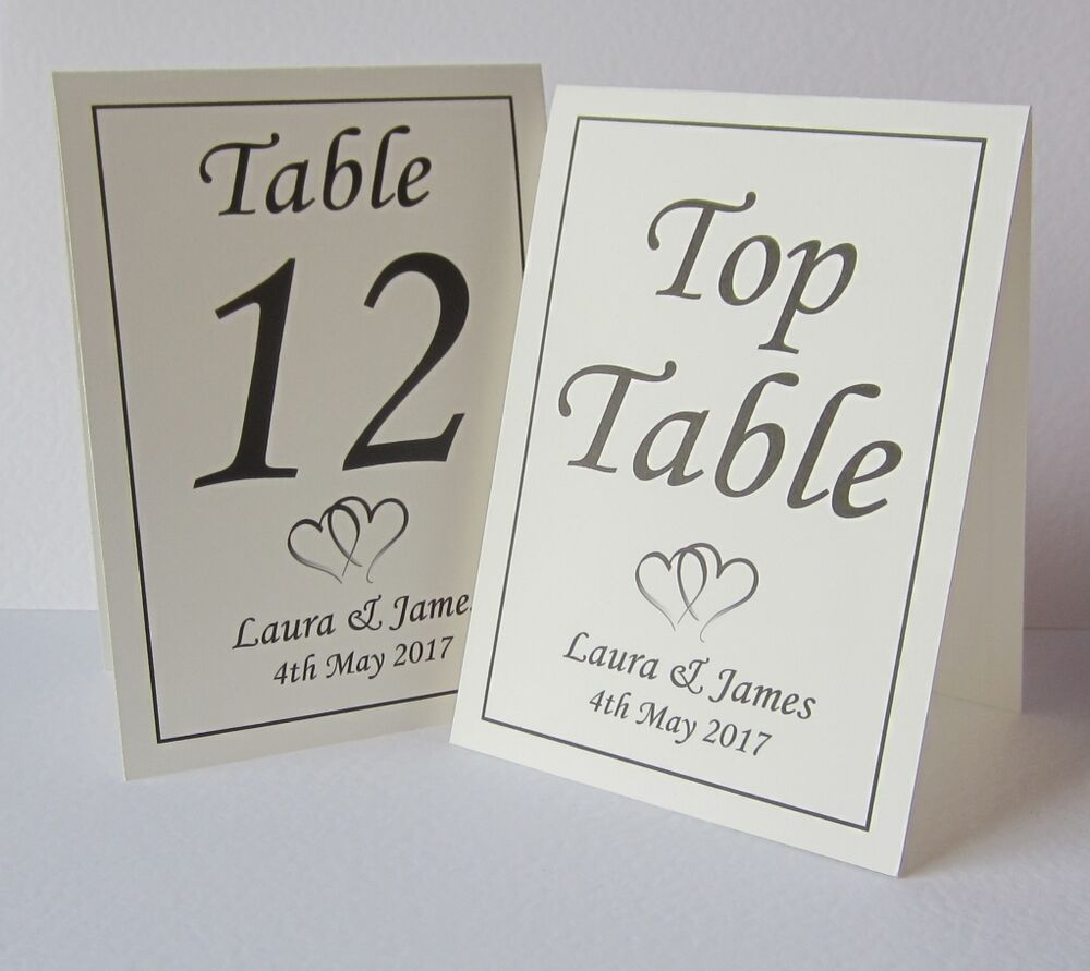 Personalised wedding table number place cards free for Table place cards