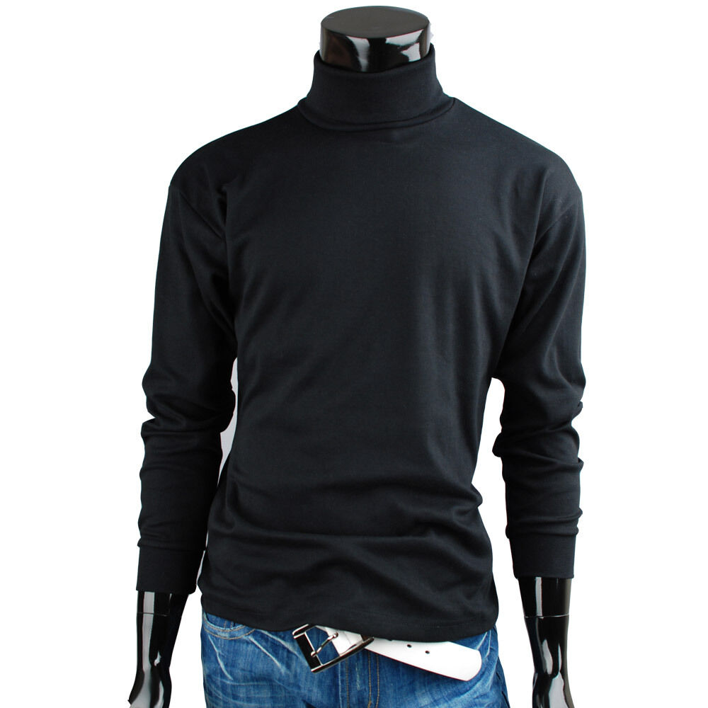 Mens turtleneck solid basic elastic long sleeve t shirt for Turtleneck under t shirt
