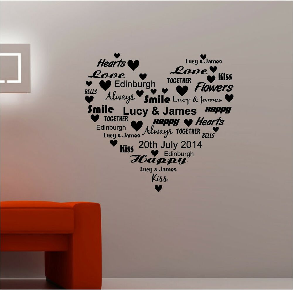 personalised word heart vinyl wall art quote sticker love ebay. Black Bedroom Furniture Sets. Home Design Ideas