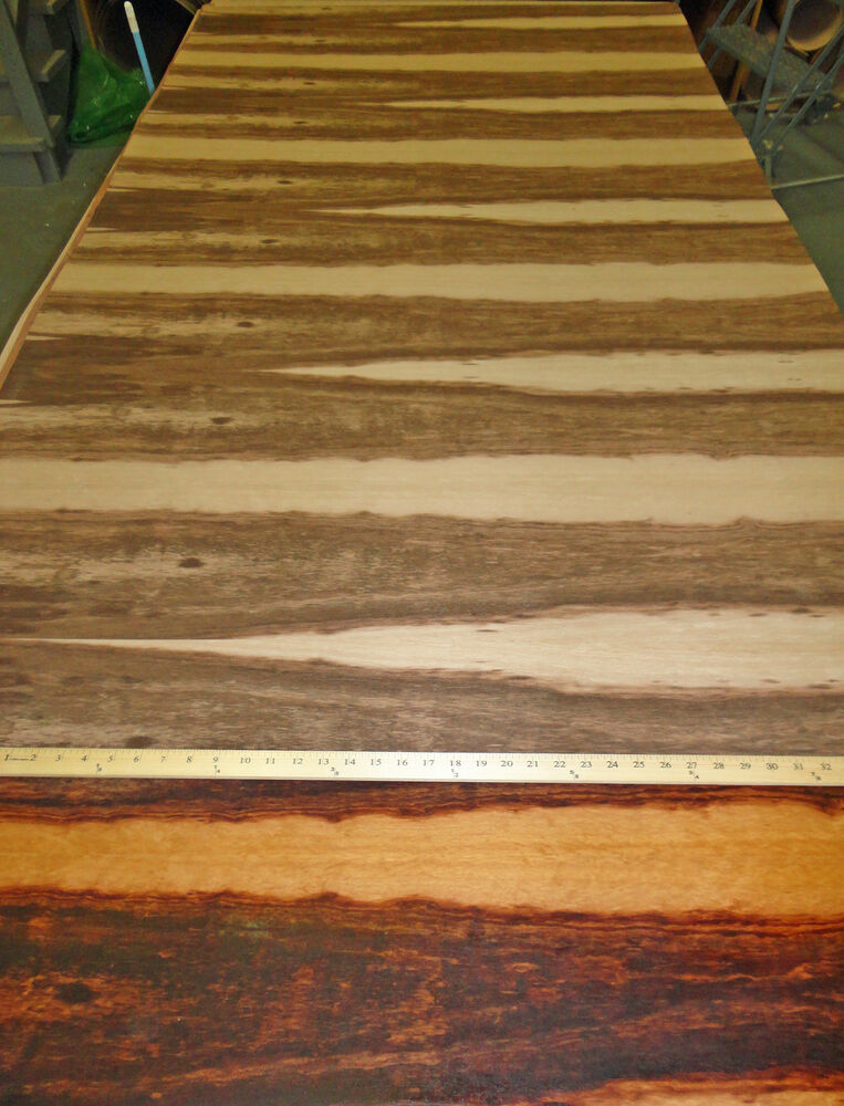 "Goncalo Alves (Tigerwood) wood veneer 96"" x 48"" with paper ..."