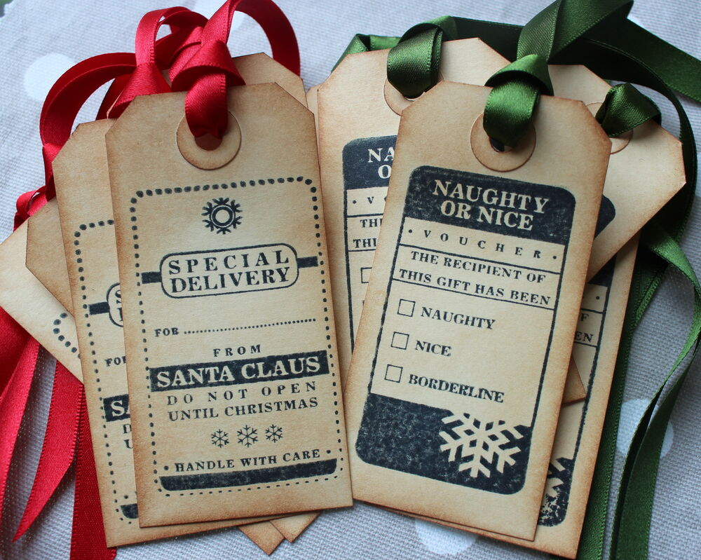 Naughty Or Nice Christmas Gift Tags Vintage Style Set Of
