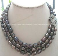 """3rows freshwater pearl rice black necklace 16.5-18"""" wholesale nature amazing"""