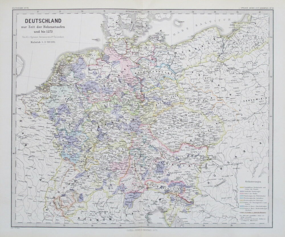 1879 map deutschland germany at the time of the hohenstaufens to 1273 spruner ebay. Black Bedroom Furniture Sets. Home Design Ideas