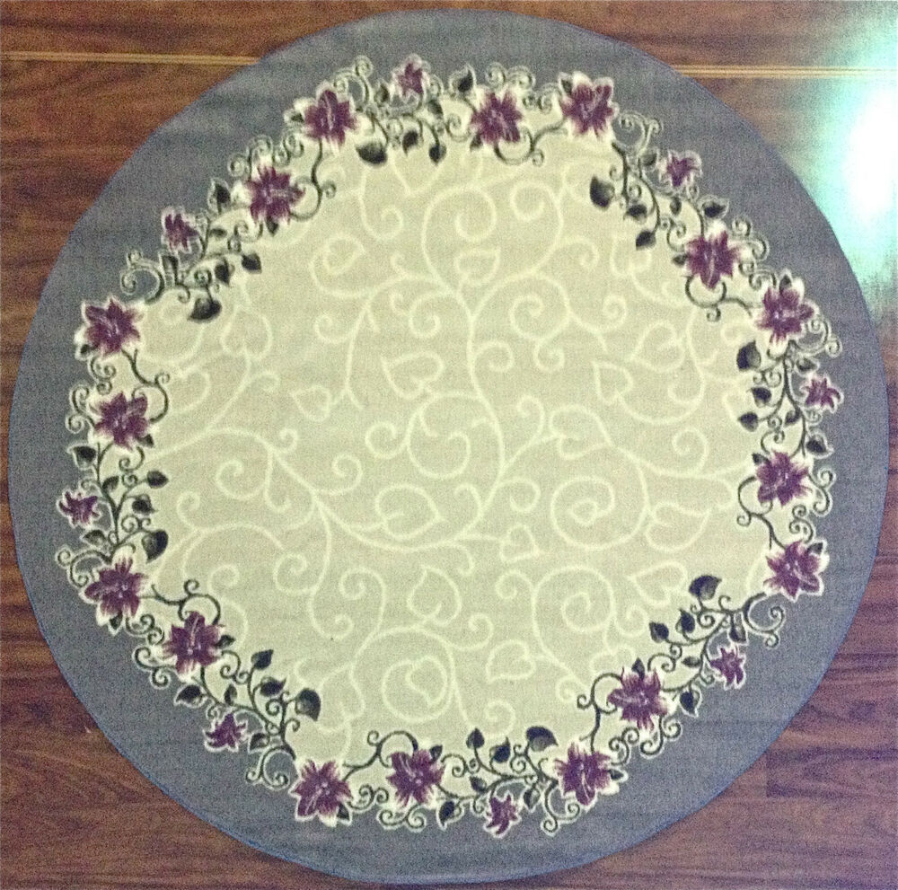 6' Round Kitchen Rug Floral Flowers Ivory Purple Blue