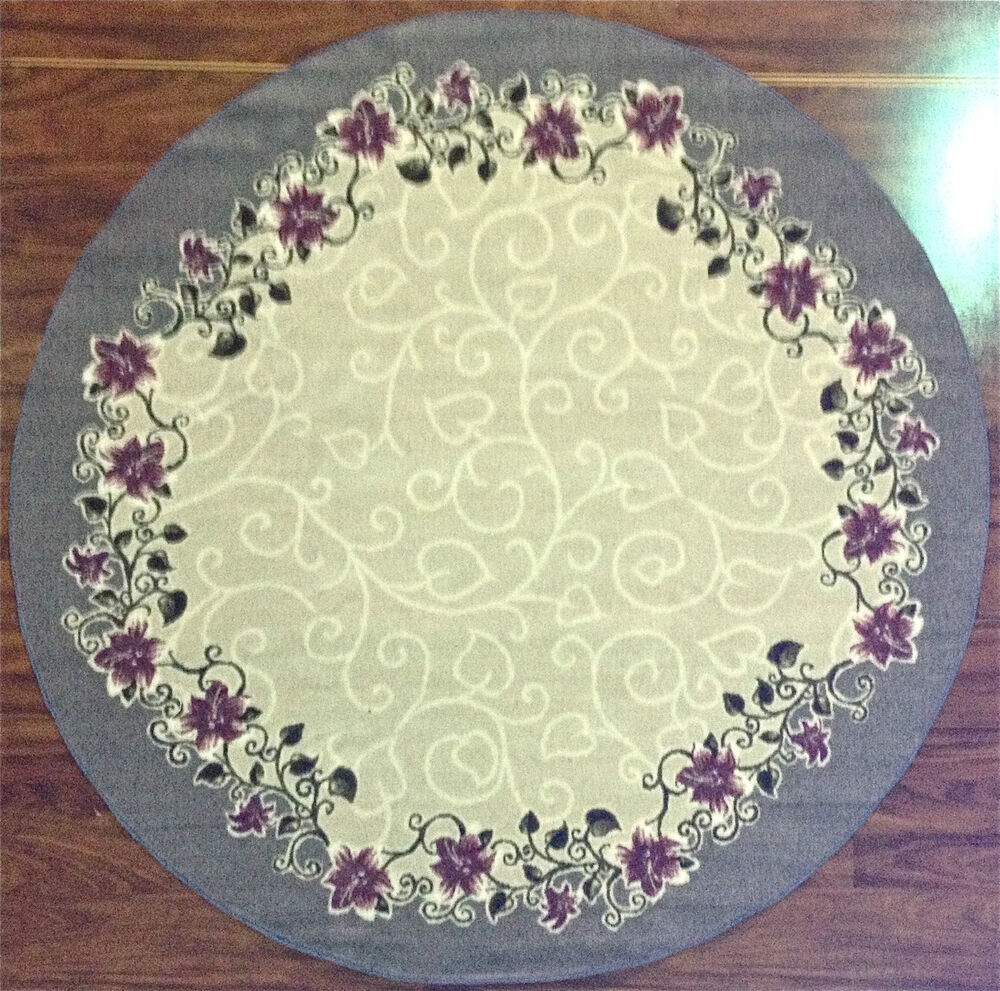Blue Kitchen Rug: 6' Round Kitchen Rug Floral Flowers Ivory Purple Blue