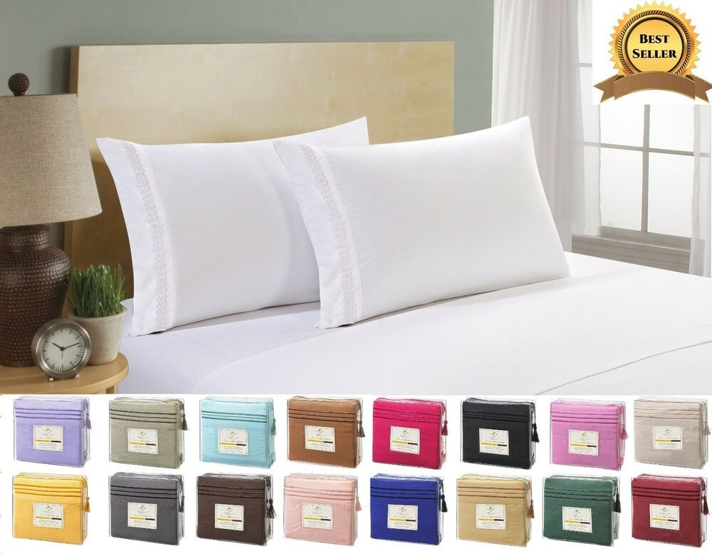 1500 thread count 4 piece bed sheet set perfect christmas gift ebay. Black Bedroom Furniture Sets. Home Design Ideas