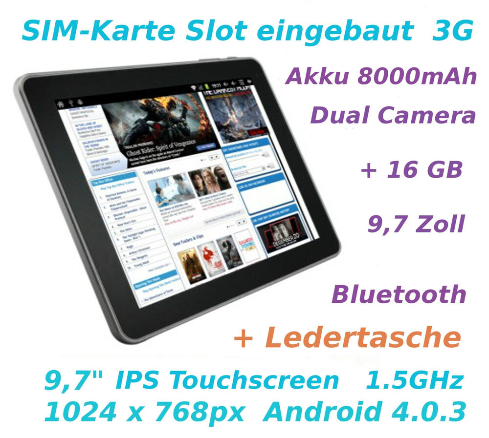 9 7 zoll tablet pc superpad mit sim karte 3g android 4 0. Black Bedroom Furniture Sets. Home Design Ideas