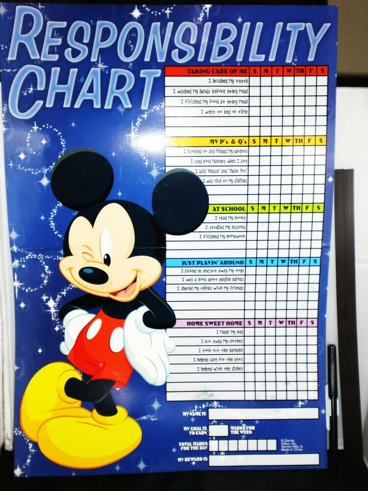 Disney Weekly Mickey Mouse Responsibility Chart For Kids