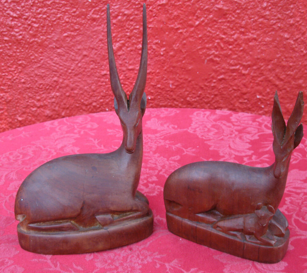 Vintage lot hand carved besmo wood antelope animal kenya