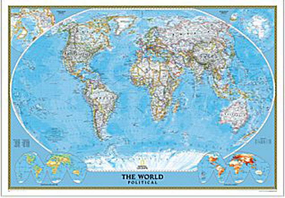 world map wall poster national geographic classic rolled. Black Bedroom Furniture Sets. Home Design Ideas