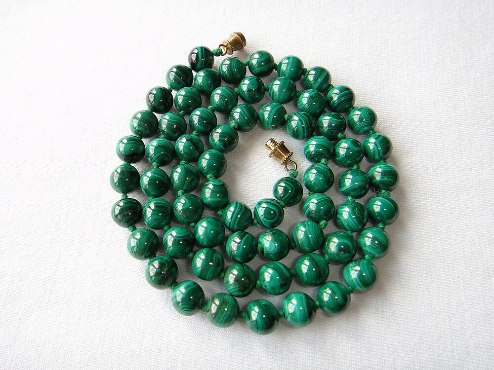 Green Malachite Necklace Vintage 8mm Beads 22 Quot Knotted