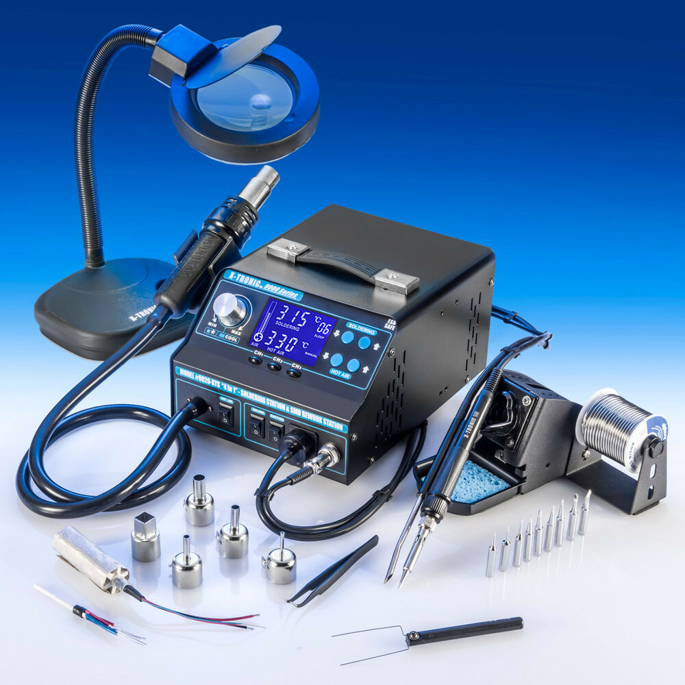 x tronic model 9020 esd safe hot air soldering iron station fume extra. Black Bedroom Furniture Sets. Home Design Ideas