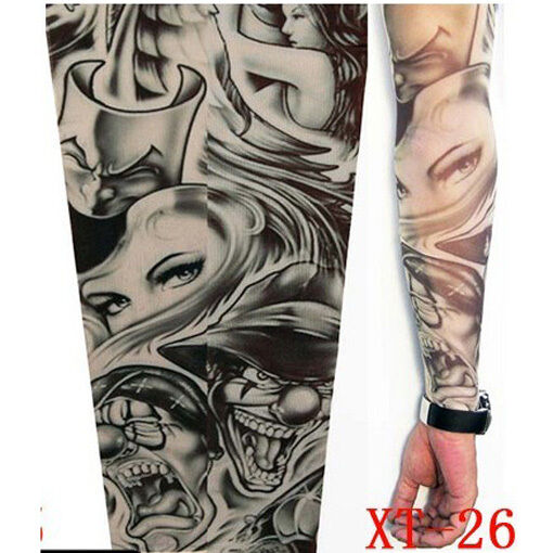 2x fake tattoo sleeve cloth arm design party sleeves fancy dress tribal new ebay. Black Bedroom Furniture Sets. Home Design Ideas