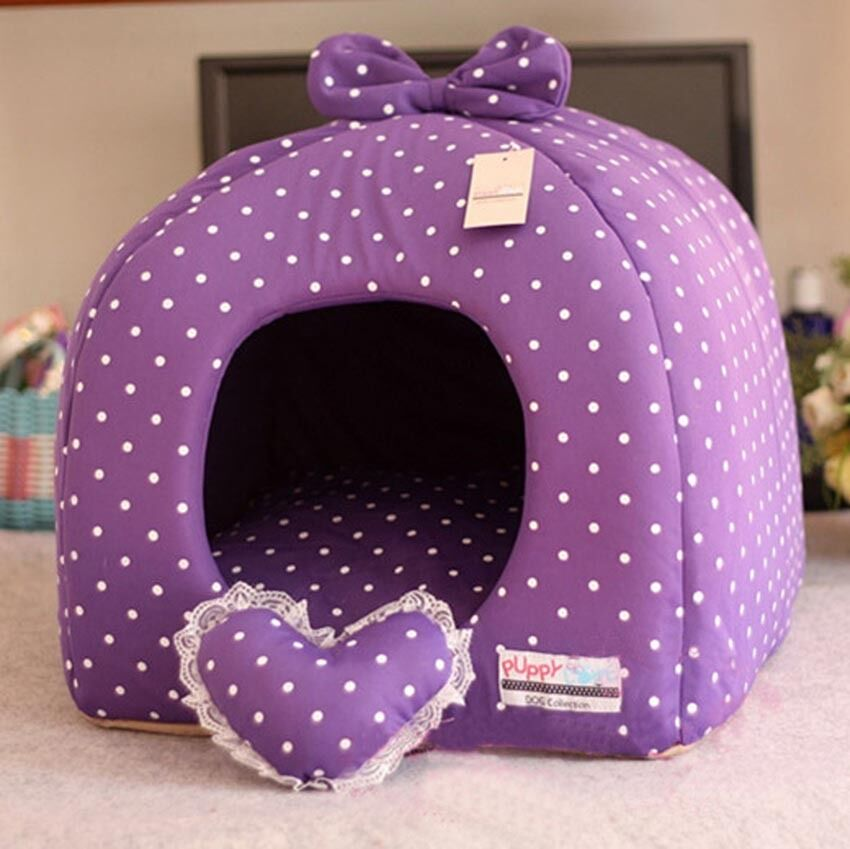 Rose Purple Princess Pet Dog Cat Soft Bed House Tent Small